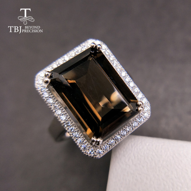TBJ bague classique en pierres précieuses de grande taille, bijoux en pierres précieuses, avec fumée naturelle oct10 * 14mm en argent sterling 925, cadeau pour femmes