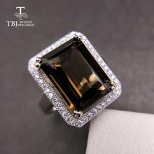 Tbj 、古典的なビッグサイズ宝石リングナチュラルスモーキー oct10 * 14 ミリメートル 925 スターリングシルバー特別な宝石用原石の宝石類のギフト女性のための