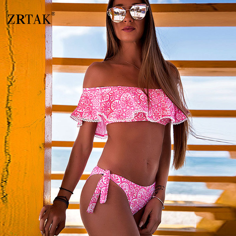 Zrtak Ruffle Bikini Bandeau Print Bandage Swimsuit Women Off Shoulder Swimwear Female Backless Beachwear Brazilian