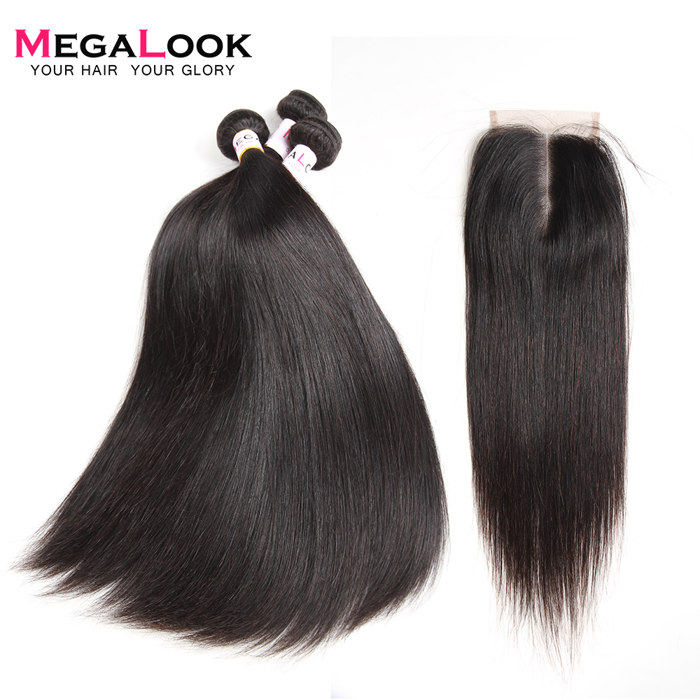 Megalook Malaysian Straight Hair Bundles with Lace Closure 100 Remy Human Hair Bundles with Closure