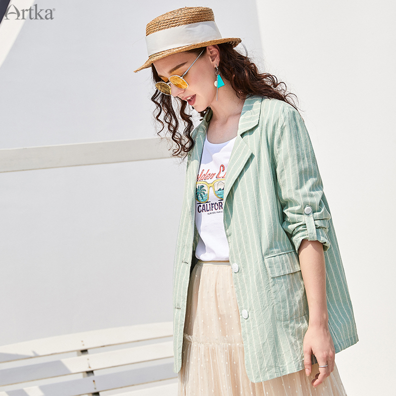 ARTKA 2019 Autumn New Women Blazers 100% Cotton Fashion Green Striped Suit Loose Casual Women Blazers And Jackets WA10390Q