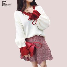 a0665f362 Pullovers outono Inverno Desgaste Básico Moda Feminina Alargamento Da Luva  Casual Tops Bonito Meninas Doces Vermelho