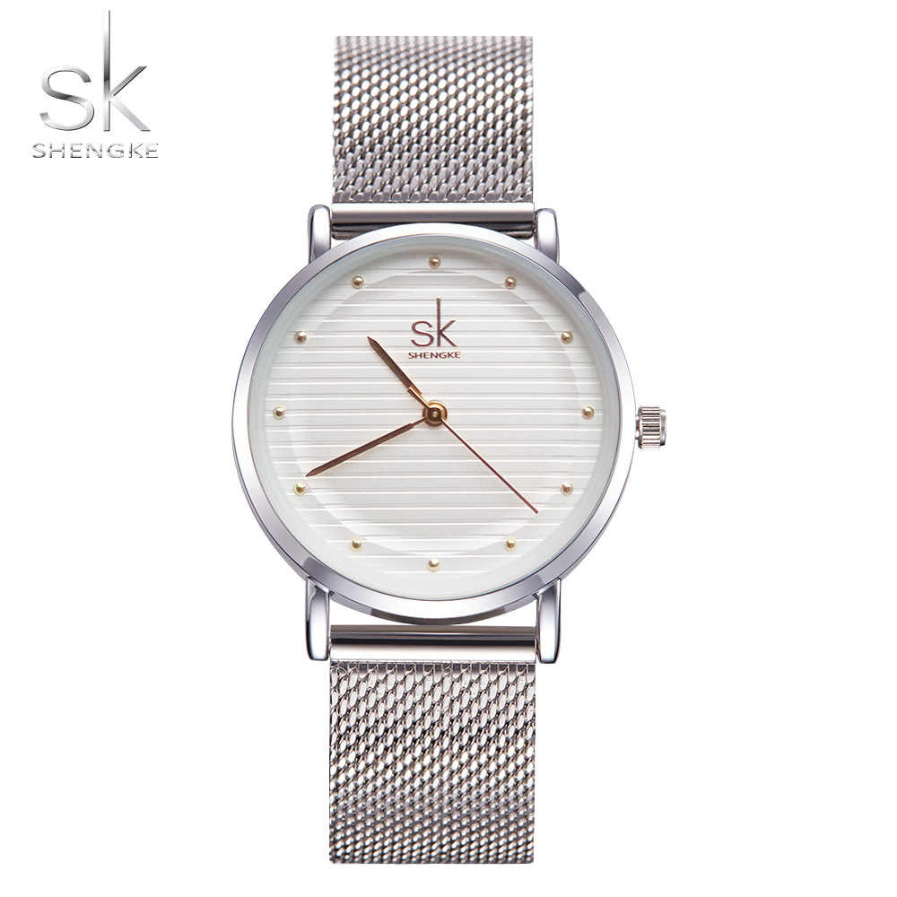 Shengke Saat Fashion Wristwatches Women Watches Stainless Steel Band Dress Quartz-Watch Relogio Ladies Watches Top Brand Luxury