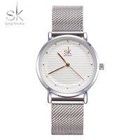 Shengke Saat Fashion Wristwatches Women Watches Stainless Steel Band Dress Quartz Watch Relogio Ladies Watches Top