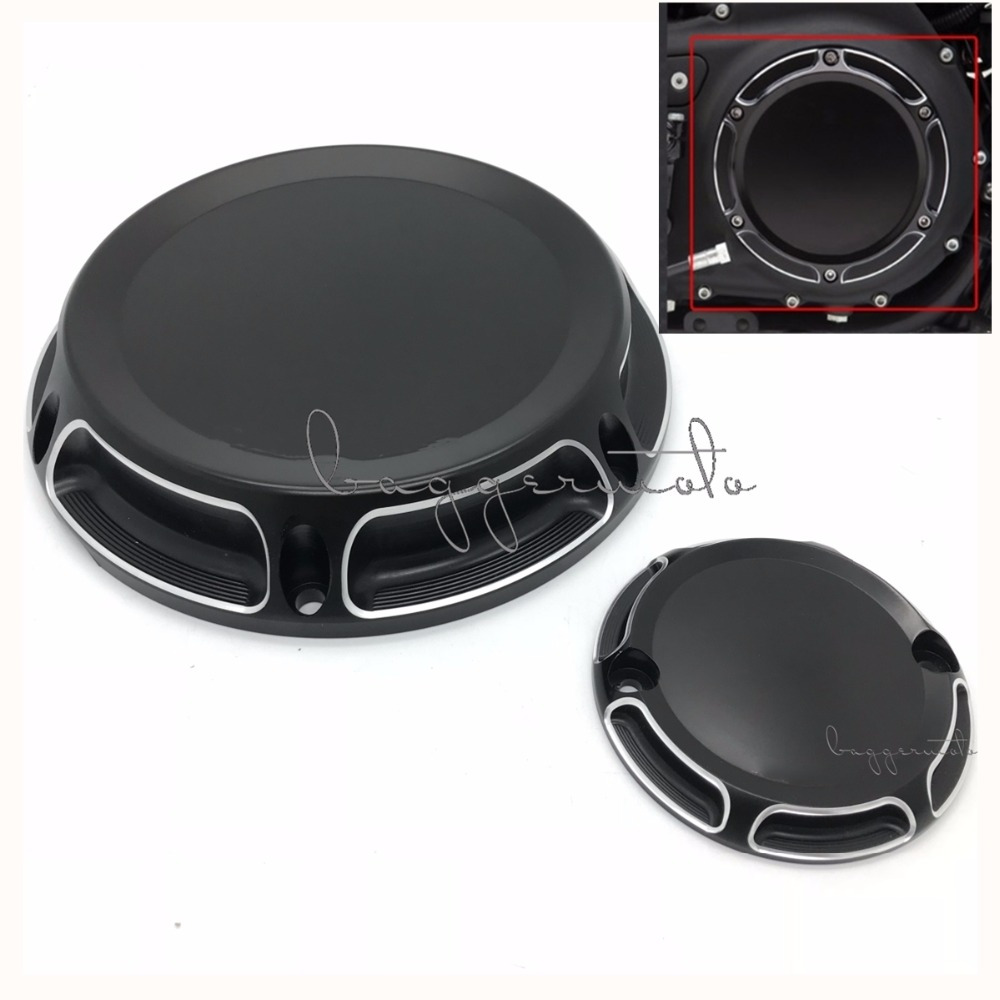 Black Motorcycle Billet Aluminum 6-Hole Beveled Derby Cover & Timing Timer Covers For Harley 2004-16 XL Sportster motorcycle cnc 6 hole beveled derby cover