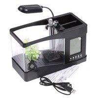 Multi functional Acrylic Fish Tank / Aquarium USB Mini Aquarium Fish Ecological Small Goldfish Turtle Aquarium Supplies