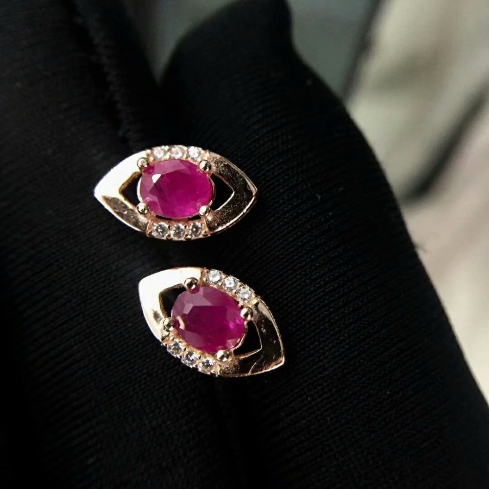 shilovem 925 natural Natural Ruby Stud Earrings fine Jewelry Customizable trendy women party 2018 new tfe040601agh