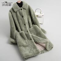 Натуральный мех пальто женские осенне зимняя шерстяная одежда куртка розовое длинное пальто Для женщин шубы и куртки зимняя женская обувь