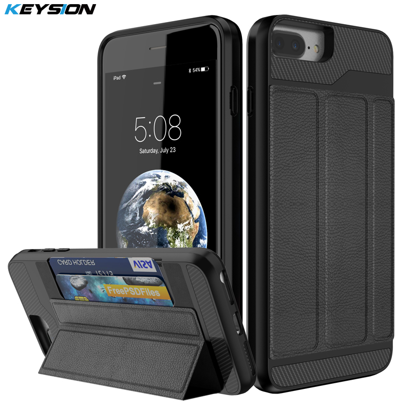 KEYSION Phone Case for iPhone 8 7 Plus Luxury PU leather and PC and TPU Kickstand Back cover for iPhone 8 Plus With Card Pocket