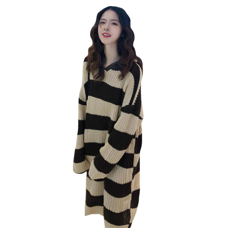 Women Casual Loose Long Sweaters Korean Lazy White Black Hit Color Striped Knitted Hooded Pullover Female Thick Autumn Jumper