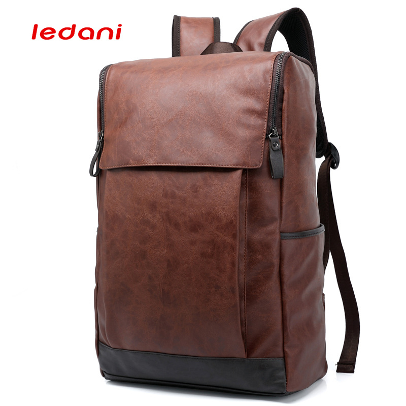 LEDANI Men Business Casual Backpacks Travel School Bags PU Leather Men's Fashion Shoulder Bags Vintage Boys Men Backpack Women