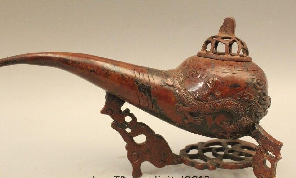 Estatua incensario con quemador de incienso dragón pipa de tabaco de bronce chino de 5 pulgadas marcada en China