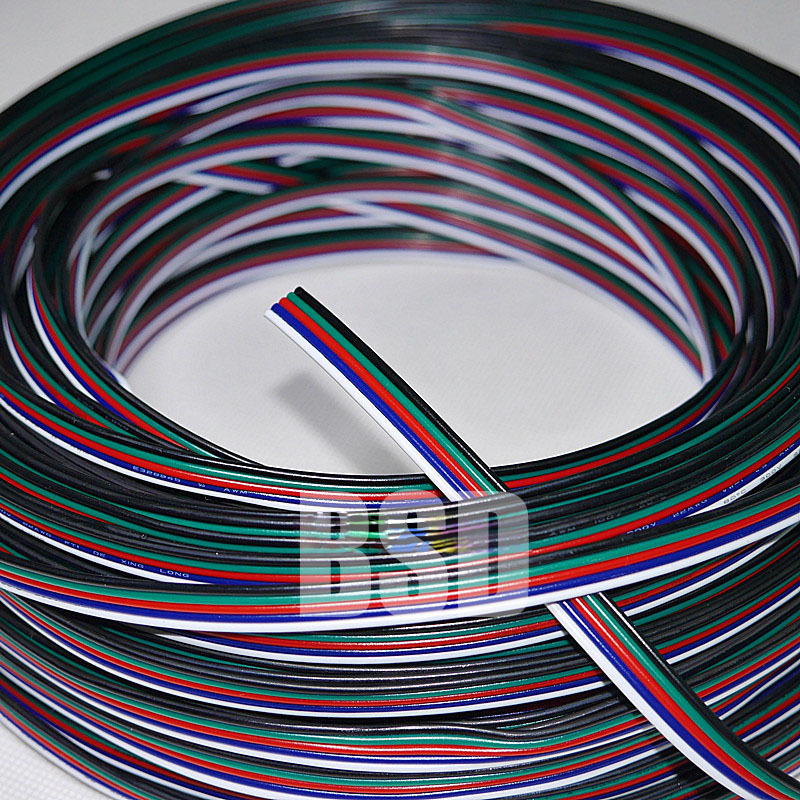 100m roll 5Pin 20AWG RGBW Extension Electric Wire Cable Line 5 Color ...