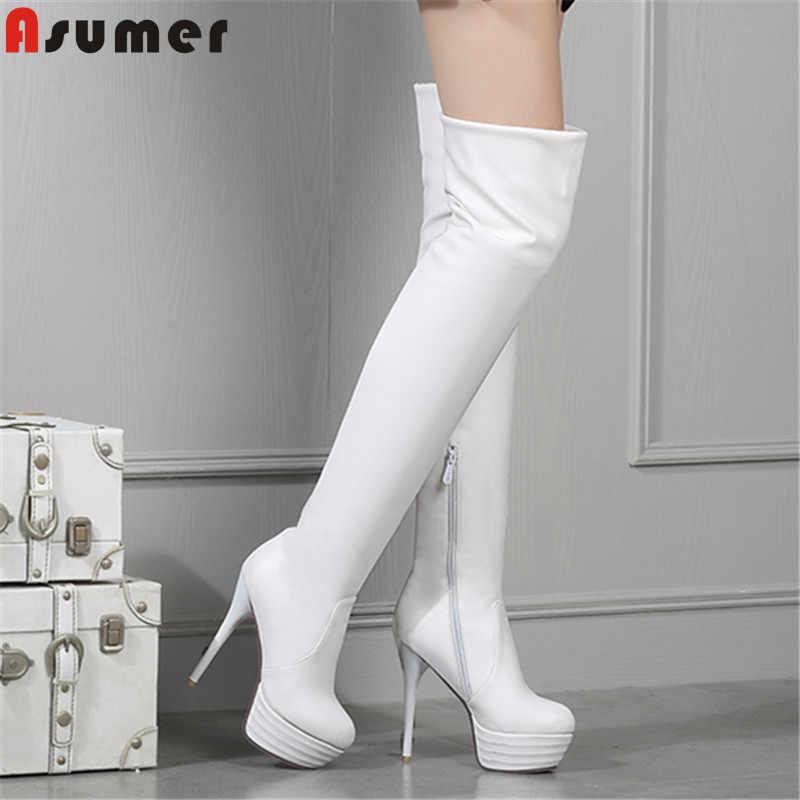 ASUMER 2020 diz çizmeler üzerinde kadın sonbahar kış çizmeler platformu zip stilettos yüksek topuklu bayanlar streç uyluk yüksek çizmeler