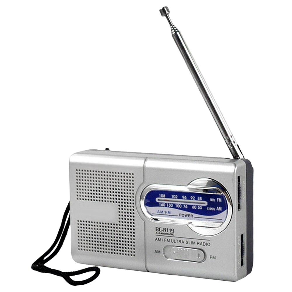 Mini Am/fm Dual Band Radio Bc-r119 Tragbare Audio Empfänger Im Freien Lautsprecher Mit Teleskop Antenne Lanyard 3,5mm Kopfhörer Jack Radio