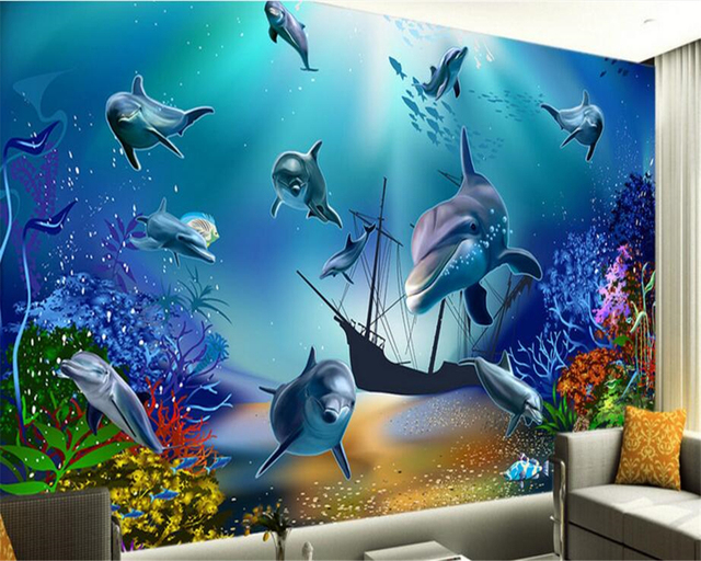 Beibehang Senior Fantasy Silk Wall Paper Seabed Personality Fashion World Dolphin TV Background Papel De Parede