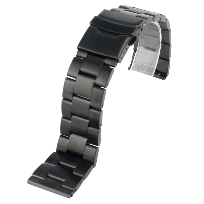 20/22mm Replacement HQ Stainless Steel Black Men Fold Over Clasp with Safety Bracelet Watch Band Strap+ 2 Spring Bars 22mm silver replacement folding clasp with safety shark mesh men watch band strap stainless steel 2 spring bars high quality