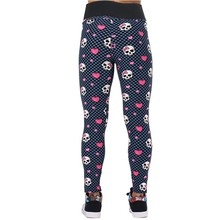 Women Pirate Costume Leggins Pants Digital Printing FUNNY SKULLS  Loving Heart Printed Leggings