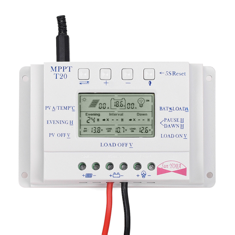 12V/24V 10/20/30/40A MPPT Auto LCD Display Solar Charge Regulator Controller With Load Dual Timer Control For Street LightSystem