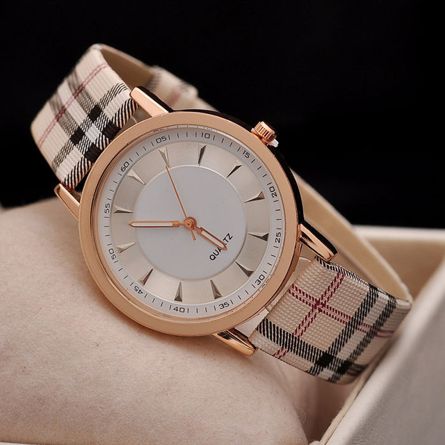 93f9c00265a Hot Sale Top Luxury Brand women Leather Strap Watch Casual Quartz Watch Gold  Plaid Strip Lady Dress wristwatch Relogio Feminino