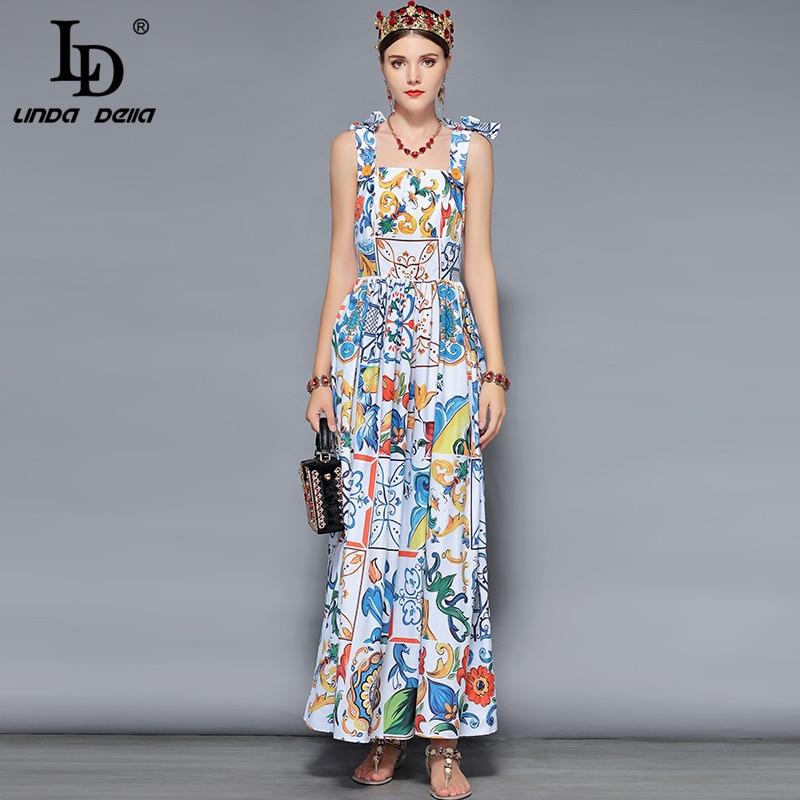 LD LINDA DELLA Fashion Designer maxi dresses Women s Blue white Floral Print Summer Boho Holiday