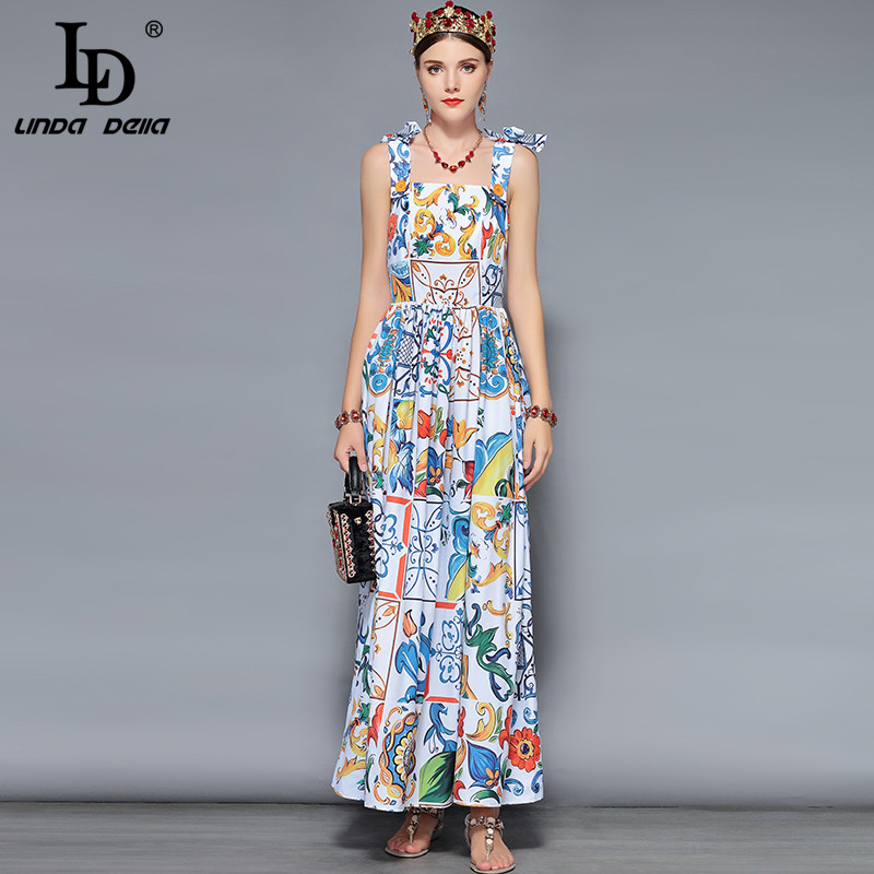 LD LINDA DELLA Fashion Designer maxi dresses Women's Blue white Floral Print Summer Boho Holiday Vacation Casual Long Dress