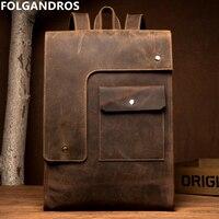 FOLGANDROS из коровьей кожи рюкзак для Для мужчин Бизнес ноутбук рюкзак бренд ручной Винтаж школа книга компьютера сумка Bolsa
