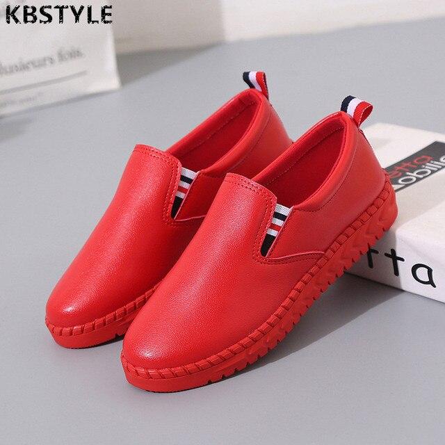 € 21.4 |KBstyle 2017 Nuevo Hecho A Mano de Cuero Zapatos Planos de Las Mujeres Zapatos Femeninos Perezosos Resbalón de Los Zapatos de Cuero Hembra