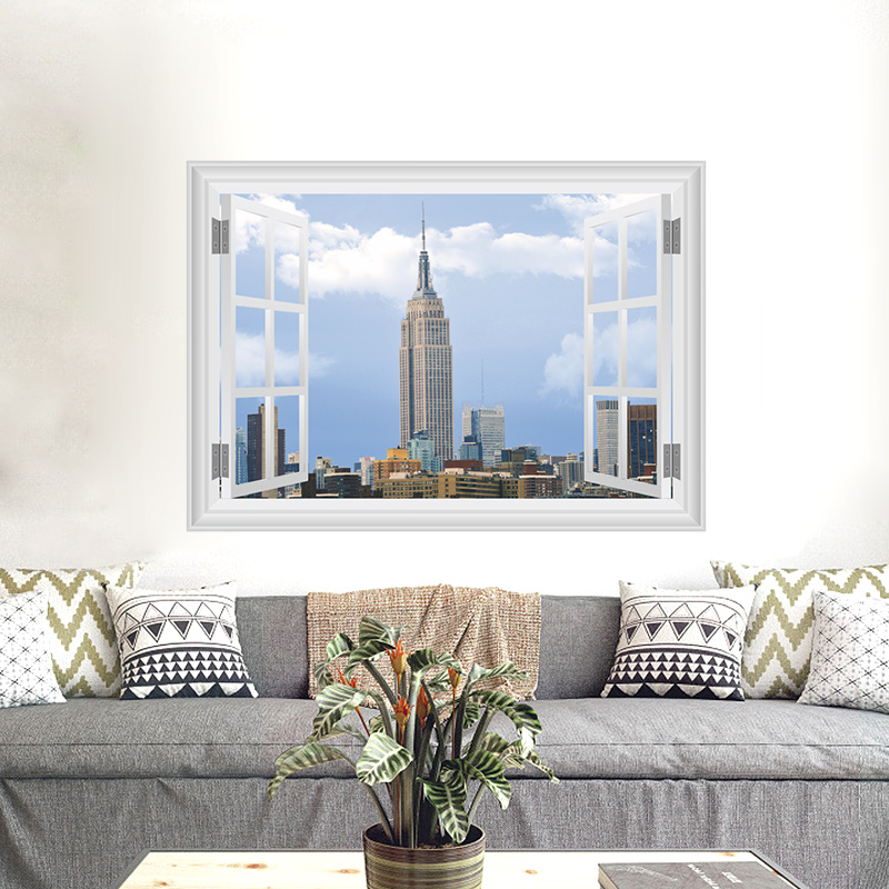 Us 3 6 20 Off American Stylel City Wall Stickers New York Empire State Building Poster Mural Decals For Living Room 3d Window Home Decorations In