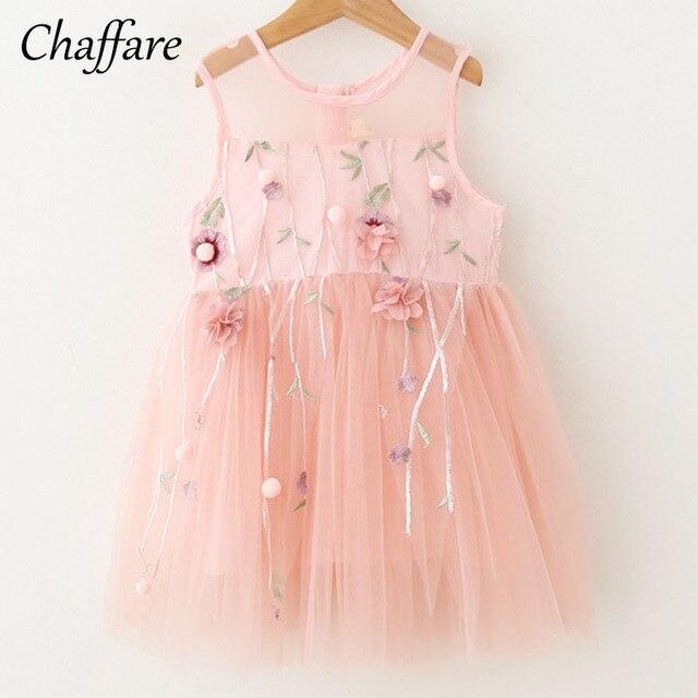55af2d1052d3 Chaffare Tulle Girls Dress 2018 Elegant Applique Flower Baby Frock ...