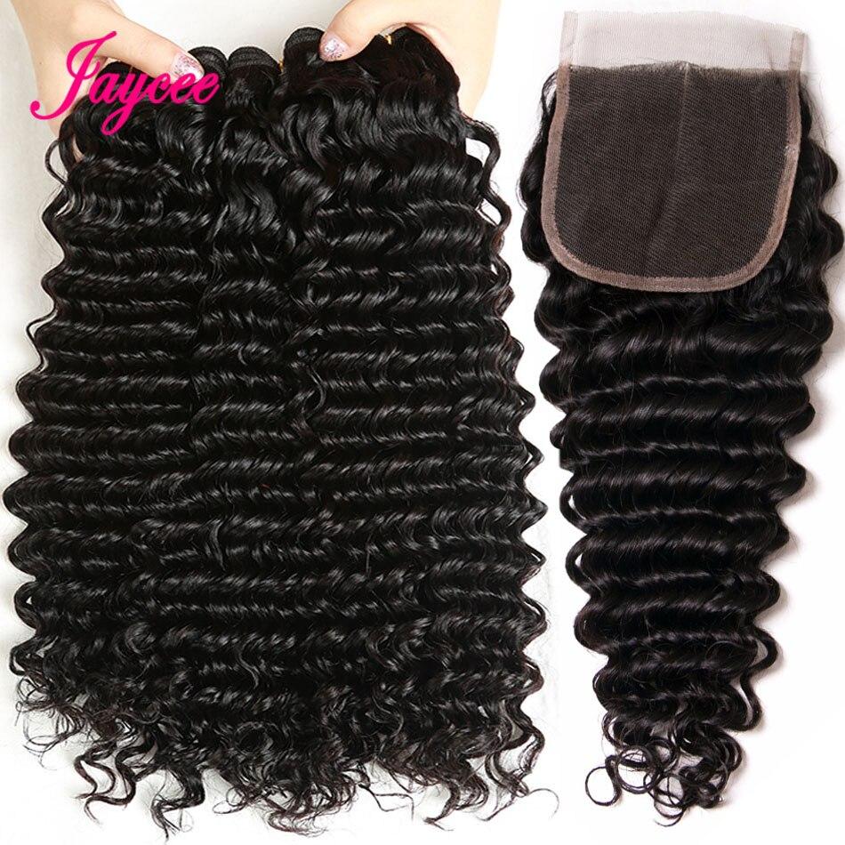 Deep Wave Human Hair Bundles With Closure Brazilian Hair Weave 3 Bundles Remy Hair Bundles With Closure Natural Black Color