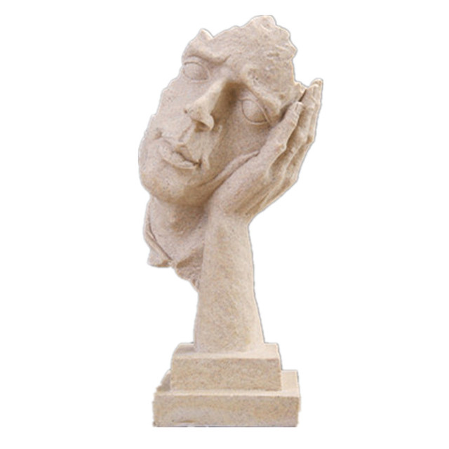 Thinker Statues Figurine Living Room Art Decor Furnishings Silence Is A Gold-European Sculpture Vintage Resin Crafts Decorations