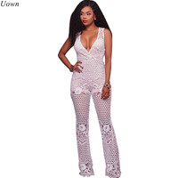Sexy Floral Lace Wide Leg Jumpsuit Long Pants Rompers Ladies Sleeveless Hollow Out V Neck Party Overalls Combinaison Femme