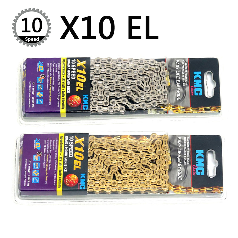 цена на KMC X10EL Chain 116 Link 10 Speed Bike Chains With Missing Connect Link Silver Golden Extra Light MTB Road Racing Bicycle Chain