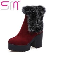 2017 Thick High Heels Rabbit Fur Charm Women Boots Keep Warm Winter Boots Platform Shoes Woman Snow Boots Big Size 34-43