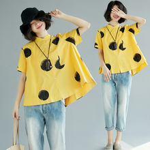Spring and summer new style Loose short sleeve printed shirt Polka dot printed short-sleeved top цена в Москве и Питере