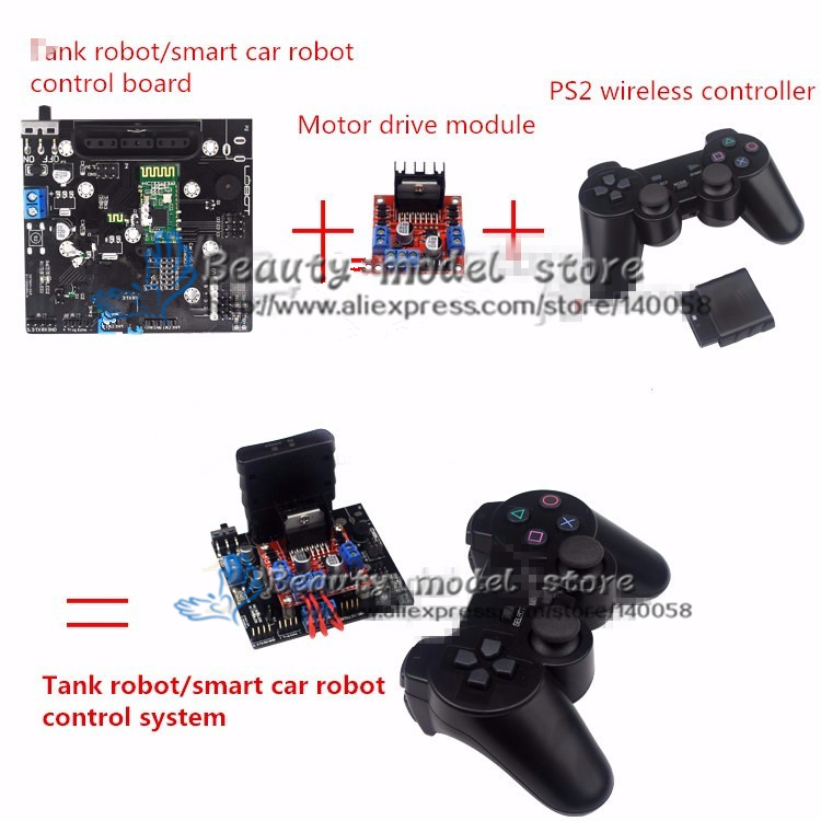 smart car robot / Tank robot control system control board + Motor drive module + PS2 controller + Android APP + Bluetooth 4.0
