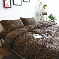 Free shipping brown leopard print bedding sets 100% pure cotton tribute silk duvet cover set fitted type King Queen King SP3780