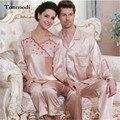 Women Pajamas Silk Mens Nightshirt Love Sleepwear Satin Ladies Silk Pyjamas Women's Lounge Couple Pajamas Sets Plus Size 3XL