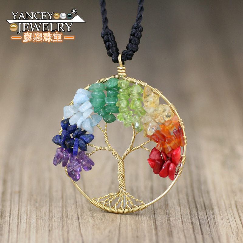 YANCEY original design jewelry, colorful fortune tree, Life Tree necklaces & pendants jade silver 925 jewelry for women handmade