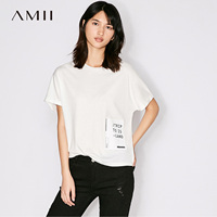 Amii Casual Women T Shirts 2017 Summer Solid Print 100 Cotton O Neck Short Sleeve Tees