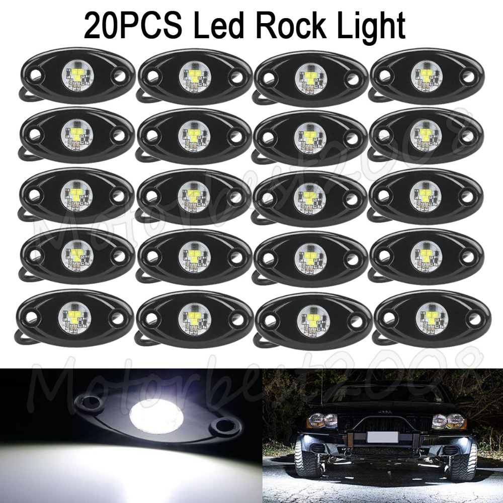 20PCS 2 9W OffRoad Truck Trail Fender Lighting LED Rock Light Under Body Wheel White Color Backup/ Reverse Light Puddle Light mp620 mp622 mp625 projector color wheel mp620 mp622 mp625