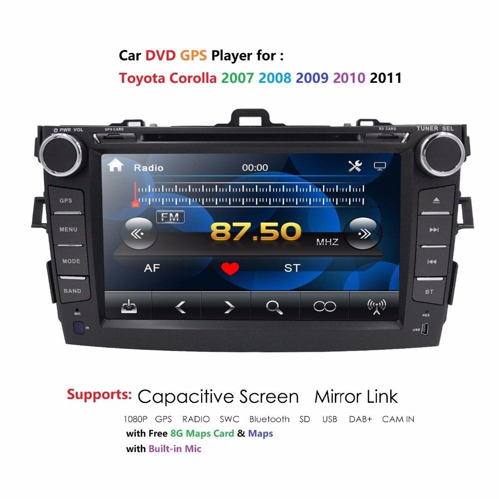 2 din 8 pouces voiture DVD voiture GPS pour Toyota corolla 2007 2008 2009 2010 2011 DAB Radio audio lecteur DVD GPS SD USB ATV BLUETOOTH RDS