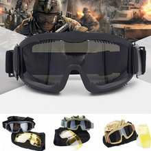 лучшая цена Airsoft Gear Tactical Sunglasses Bulletproof CS Army Combat Military Sport Glasses Outdoor Hunting Shooting Goggles