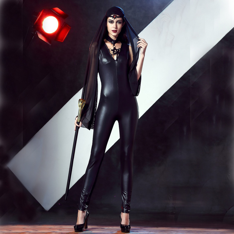 Egypt Cleopatra Goddess Witch Jumpsuit Catsuit Ladies Halloween Fancy Dress Costume P3077
