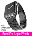 3 Pionters Black Metal Watchband For Hoco Apple Watch Link Bracelet 42mm 38mm With 316L Stainless Steel Original Adapters