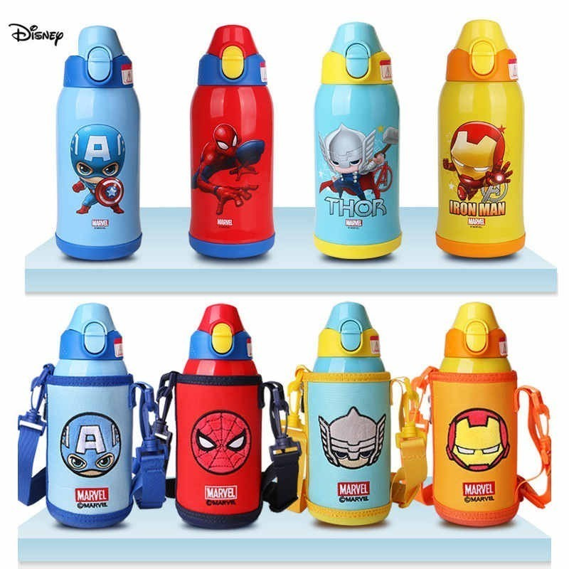 Disney 2019 Disney Water Bottle Children Three Cover 600ML Durable Thermos Cup With Cup Set Straw Cup Gift Tazas Kid Sippy Cup