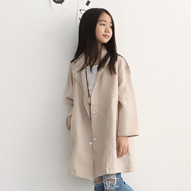 white khaki long girls kids coat children spring autumn trench ...