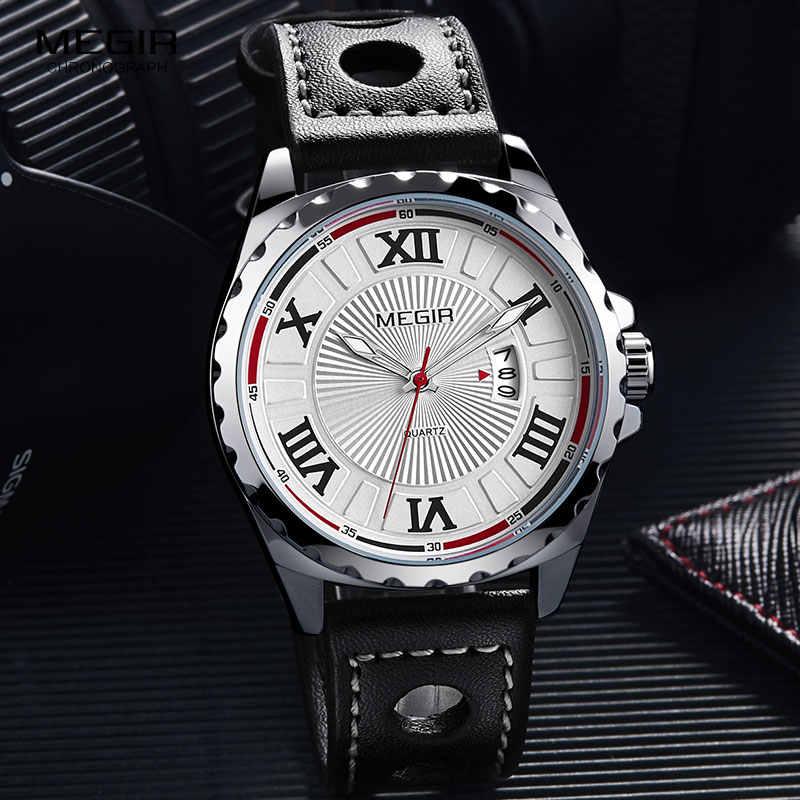 ผู้ชายที่เรียบง่ายควอตซ์แบบอะนาล็อกนาฬิกาข้อมือตัวเลขโรมันสายหนังนาฬิกา Man Relogios Masculino Army Marine นาฬิกา 1019GBK-7