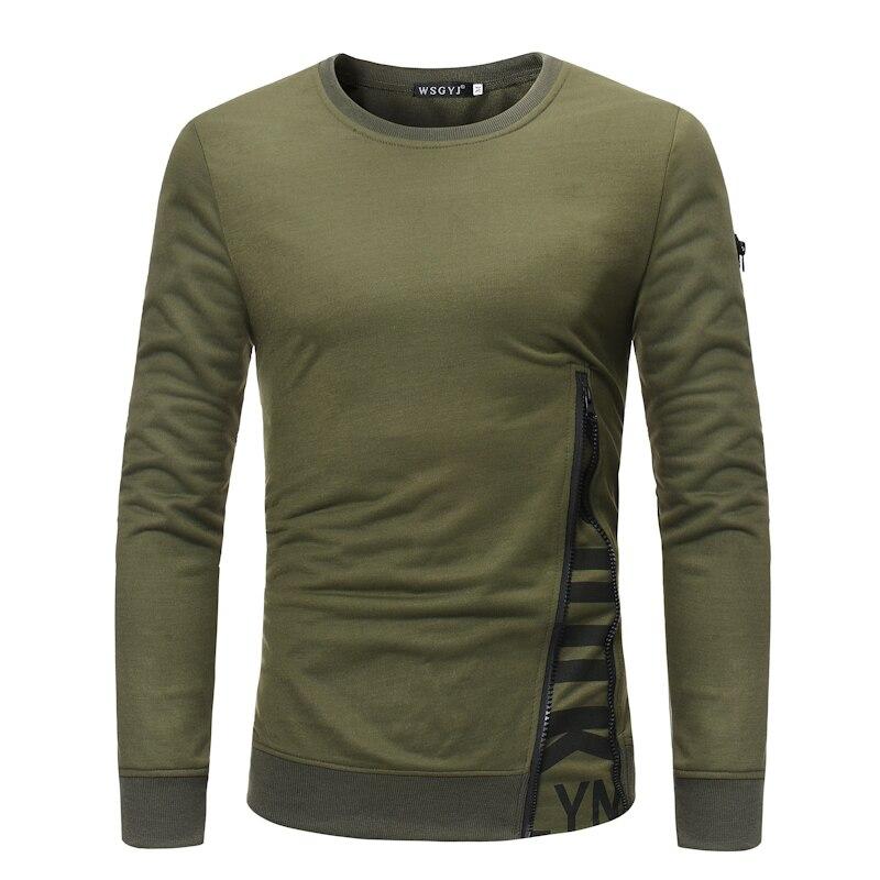 T  -  Shirt   Men New Fashion 2018 Long Sleeve Fitness Top Solid Army Green Pullover Hip-Hop   T     Shirt   Men Zipper Printing   T     Shirt   XXXL